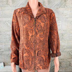 Molly & Maxx Parsley Print Zip Jacket Size 1X